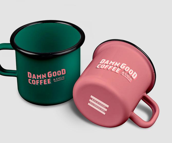 Damn Good Coffee mug goodies